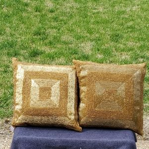 Other - Gold beaded throw pillows set of 2